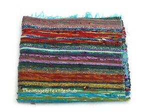 Turquoise 4x6 Ft Hand-Woven Mat Cotton Floor Carpet Rug Rag Chindi Mat Indian