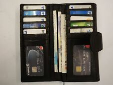 Ladies Purse Wallet Organiser Extra Large Black Double Sided Top Brand RFID