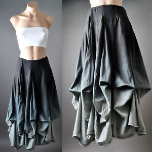 Dark Gray Ombre Victorian Goth Steampunk Gypsy Bustle Petticoat Long Skirt S M L