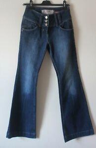 River Island Love & Honour Skinny Kick Flare Jeans High Waisted 10 32L Flawless