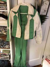 Vintage GLOBE Ski Suit 2PC Bib Overall Jacket GREEN WHITE Zip Pockets YOUTH L