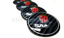 4x60mm Saab Carbon Car Wheel Center Caps Plastic Curve Badge Sticker Logo