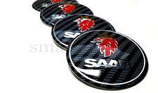4x60mm Saab Carbon Car Wheel Center Caps Plastic Curve Badge Sticker Logo