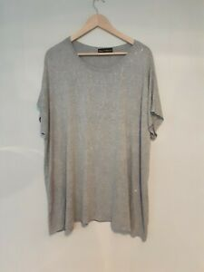 Frank Usher Crystal Embellished T Shirt Qvc  Grey  Size  Large/ XL RRP  £25