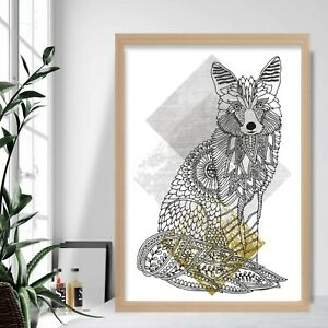 Geometric FOX Sitting Art Print Yellow Grey Gallery Wall Poster Aztec Decor