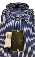 Tommy Hilfiger Dress Shirt, Blue, Stripe, 100% Cotton, Spread Collar