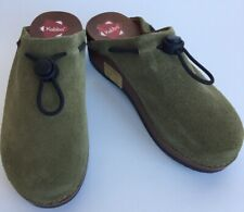 Kebba Ca Botom Suede Wood Bottom Clog Mules Shoes Green Kids Size 35 Eu or 5 Us