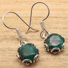 Silver Plated Over Solid Copper Green Simulated Emerald Trendy Earrings, !