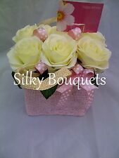 Soie artificielle fleur hommage cadeau grave memorial fleurs dans sac
