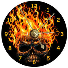 NEW Cool Flaming Skull CD Clock