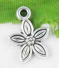 Free Ship 40Pcs Tibetan Silver Flower Charms  Pendant 14x10mm