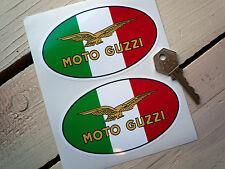 """MOTO GUZZI Tricolore Oval 4.5"""" Pair STICKERS LeMans Corsa Griso Nevada Breva V11"""