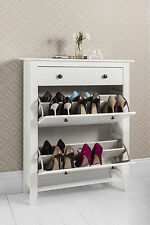 Shoe Storage Cabinet Deluxe with Storage Drawer Cotswold in White