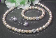 ***Traumhaftes*** 3tlg. Perlen Schmuckset  creme 43cm Straß Perle Ohrhaken 925er
