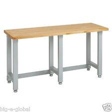 Ultra Heavy-Duty Commercial Garage Wooden Top Workbench Table Metal Steel Frame