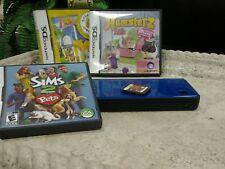 NINTENDO DS XL BLUE UNIT + 4 GAMES - SIMS 2PETS + HAMSTERZ LIFE + MONSTER TRUCK