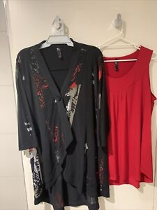 Taking Shape- LONG black CARDI + RED long CAMI-   both size M (18-20+)