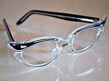 Swank Vintage Frame France Cat Eye Glasses Clear w/ Black Strip Celluloid NOS