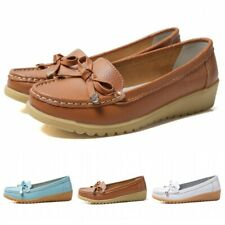 Womens Faux Leather Slip On Casual Comfort Loafers Shoes Bowties Mom Pumps 41 B