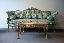 NEW French Louis xv baroque Silk Sofa couch armchair Duck Egg Blue Antique gold