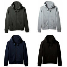 Men's Solid Cotton Blend Fleece Zippered Hoodie Classic Full Zip Up Sweatshirt