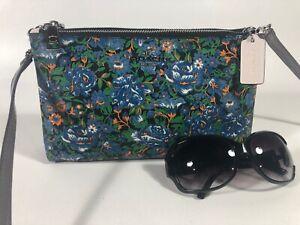COACH 57922 Rose Meadow LYLA XBODY Crossbody Shoulder Clutch $295 BLUE