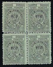SALVADOR VARIETE-Municipal- (trait parasite) année 1917 10c vert- bloc de 4 neuf