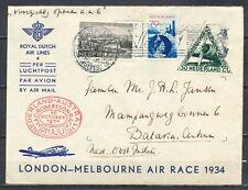 MAC-ROBERTSONRACE NEDERLAND-AUSTRALIË 'PH.AJU' 20.OCT.1934 (UIVER) BATAVIA Kr870