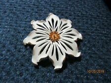 Flower Brooch by Monet Beautiful Gold & White