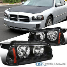 2006-2010 Dodge Charger Replacement Black Headlights+Amber Corner Lamps Pair