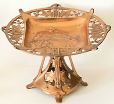 Antique Copper Tazza Compote Mother Teaching Girl Needlework Embroidery Sewing