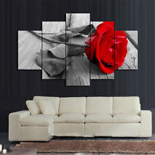 5Pcs Modern Wall Art Picture Red Rose Oil Painting On Canvas No Frame Home Decor