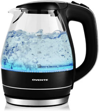 Ovente Electric Hot Water Portable Glass Kettle with Filter 1.5 Liter Stainless