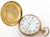 ".RARE 14K GOLD ""E M TIMPANE, NY"" (JEWELLERS) HIGH GRADE 17J 16S POCKET WATCH"
