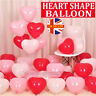 100 PACK RED/WHITE HEART SHAPE LOVE BALLONS Wedding Party Valentines Birthday UK