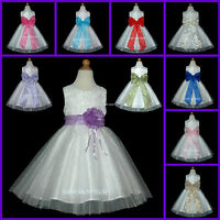 UKD76 Ivory Layer Bow Wedding Party Baby Kids Flower Girls Dress 6 M, 1 to 13 Y