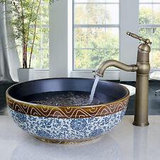 Bathroom counter top basin glass brass mixer faucet combo cera bowl basin kit