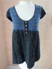 Free People Baby Doll Sweater Tunic Top sz M Blue Black Wool Blend Cap Sleeves