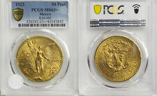 MEXICO , GOLD 50 PESOS 1923 PCGS MS 63+ - EARLY YEARS , RARE