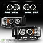 Black 2002-2005 Dodge Ram 1500 03-05 Ram 2500 3500 Halo Led Projector Headlights