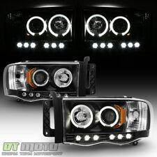 Black 2002-2005 Dodge Ram 1500 03-05 Ram 2500 3500 Halo LED Projector Headlights