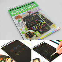 Kids Rainbow Colorful Scratch Art Kit Magic Draw Paint Paper Notebook Set Noted