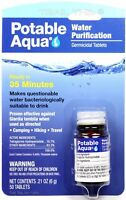 Potable Aqua Iodine Germicidal Water Purification 50-Tablets Bottle Camp/Hike