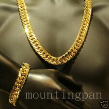 Necklace Bracelet Set 18k Yellow Gold Filled Mens Double Curb Chain