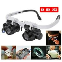 8/15/23X Magnifier Magnifying Eye Glass Loupe Jeweler Watch Repair +LED Light