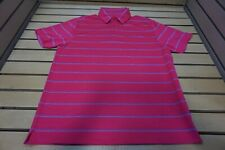 NEW Under Armour Golf Striped Polo Mens Lg Pink 9B  Shirt Clothing