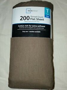 Mainstays Brown Flat Sheet for Twin Sized Mattress