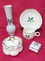 (4) Masonic Freemason Order of Eastern Star Porcelain Vase, Box, Teacup & Saucer