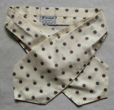 TOOTAL CRAVAT 1970s 1980s MOD RETRO PALE CREAM NAVY GOLD RED MODERNIST CASUAL