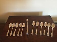 11 EARLY SOLID SILVER TEA SPOONS & TONGS 185GRAMS COMBINED